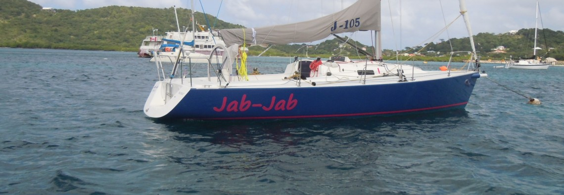 Jab Jab on her mooring in Tyrell Bay, Carriacou, Grenada