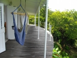 Greenheart deck in front of both bedrooms and living area