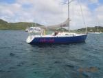 Jab Jab on her mooring in Tyrell Bay